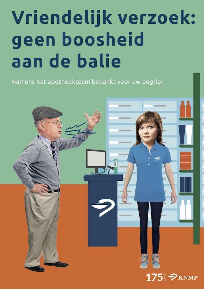 KNMP poster Geen boosheid aan de balie