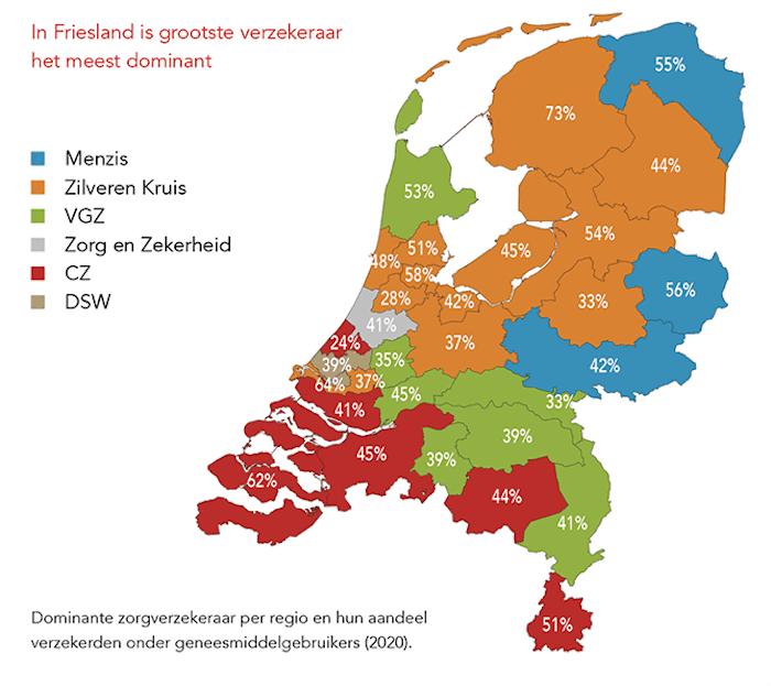 Zorgverzekeraars per regio in Nederland